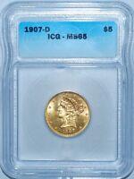 1907 D ICG MS65 Libery Head Gold $5 Half Eagle