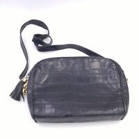 "Vintage Genuine Leather Black Handbag Purse Made in Italy 10""x 8"""