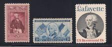 Marquis De Lafayette - Set Of 3 U.S. Postage Stamps - Mint Condition