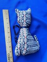"""Antique Coverlet Stuffed Animal Cat VTG Quilt Rare Folk Art Blue Ribbon """