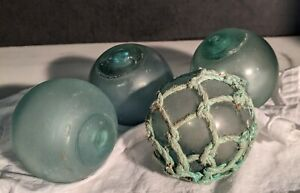 "Lot (4) Vintage hand blown Glass Fishing floats Boat Floats 10"" Diameter"