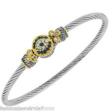 Platinum Stainless Steel Blue Crystal Evil Eye Kabbalah Luck Bangle Bracelet New