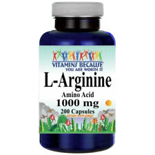 L-Arginine 1000mg 200 Capsules Free Form by Vitamins Because USA Highest Form