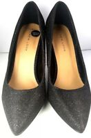 Black Shoes Uk 5 Court High Heel Slim New Look Pumps Party Grey Silver Glitter