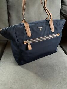 Michael Kors Jet Set Blue Nylon Leather XLarge Zip Top Tote Bag Purse COA