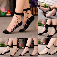 Women Crystal Socks Sheer Thin Ice Silk Black Lace Ankle Flower Boat Socks ME