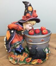 Bobbing For Apples Lenox 2003 Witch & Pail Of Apples & Black Cat Mib #49949