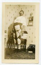1930s snapshot photo Halloween Man in costume hobo  bum #1