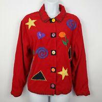 Khaki Rose Red Corduroy Long Sleeve Colorful 90s Red Womens Blazer Jacket Size M
