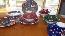 Hand Painted Christmas Dinnerware Set by Gibson Folk Noel pattern 16 pc set