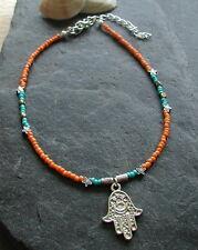 Orange Turquoise Beaded Hamsa Hand Charm Anklet Ankle Bracelet Hippy Boho