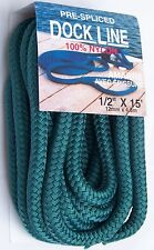 "Teal Dock Line Double Braid 1/2"" x 15'  Nylon Boat Docking Bridgeline w/Loop"