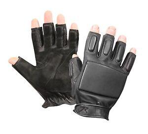 Black Fingerless Tactical Rappelling Gloves - Small Medium, Large, XL, 2XL