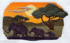 Elephant Silhouette at Sunrise SET OF 2 BATH HAND TOWELS EMBROIDERED by laura