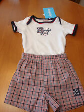 INFANT BABY BOYS 2PC  BASEBALL  SHORTS SET    SZ 6-9 MOS