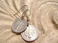Dime Coin Charm Earrings on Surgical Steel Hooks 10 cents Made in USA
