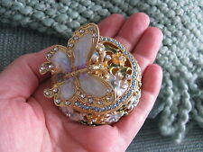NEW MINIATURE ORNATE BUTTERFLY & FLOWERS JEWELRY TRINKET BOX W/ JEWELED BLING!