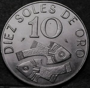 Peru 10 Sol's, 1969 Gem Unc~Stylized Fish~Only Year Ever Minted