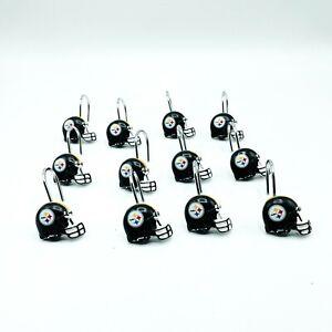 Vintage Pittsburgh Steelers Resin Shower Curtain Hooks Helmet Black Set of 12