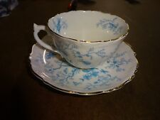 "Vintage COALPORT Teacup & Saucer ""CAIRO"" Made In England Teal Blue"