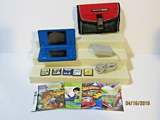 Blue Nintendo DSi Lot Case Stylus Charger Booklets Games Virtual Tutor Reading