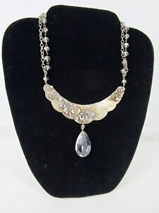 Artisan Mixed Metal Collar Necklace With Crystals Wearable Art