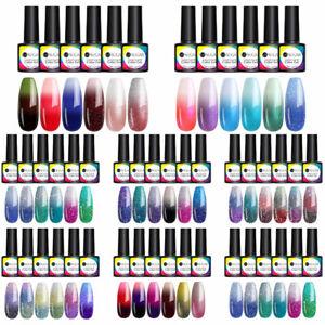 UR SUGAR 6 Colors Set Thermal UV Gel Polish Lot Color-Changing Nail Gel Varnish