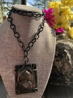 Vintage Black Bakelite Cameo & Celluloid Chain Statement Large Pendant Necklace