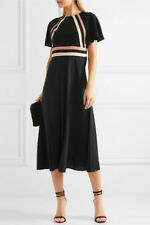 Red Valentino £800 1940s Style Black Silk Crepe De Chine Midi Dress NWT IT38/UK6