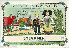 Etiquette de vin d'Alsace Sylvaner Cuvée Hansi Illustrateur Alsacienne Alsace