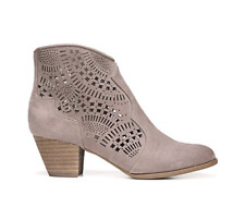Carlos By Carlos Santana Size 6.5 HAYDEN Microfiber Taupe Laser Cut Ankle Boots