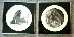 Renee Miles Rare Set of 2 Limited Edition Prints Circular Arab Bedouin Women