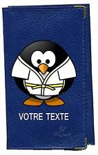 Etui carte grise en bleu papiers de voiture permis judo  à personnalise