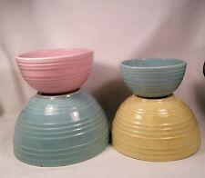 Vtg 4pc McCoy Pottery Stoneware Aqua Pink Yellow Nesting Mixing Bowls Oven Ware