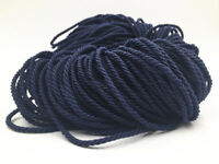 Dark blue Meters 3mm Twisted Soutache Braided Rope/Cord Jewellery Craft Supplies