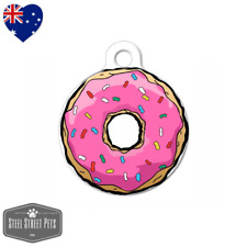 Pet ID Name Tag Pink Donut Personalised Customised Dog Cat Tag