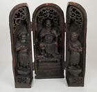 Altar Buddha Shrine 3 Folding Panels Mark Floral Calligraphy Hand Carved OLD
