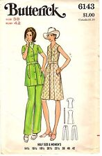 "Vintage 1970s Butterick Sewing Pattern Womens DRESS & PANTS 6143 Sz38 B42"" UNCUT"