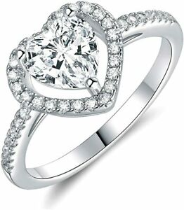 Engagement, Promise Ring 18K White Gold Plated Cubic Zirconia - Size 9