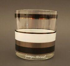 GEORGES BRIARD Hollywood Regency 22KT Gold, Black, White Banded - Rocks Glass