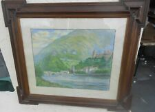 Vintage European Impressionist Countryside Pastel Landscape Painting Sgn & Dated