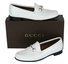 NEW GUCCI LEATHER WHITE HORSE BIT SHOES LOAFERS 39.5 - 9.5