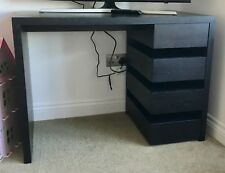 Habitat Dark Wood Solid Desk With 4 Drawers Home Office Modern