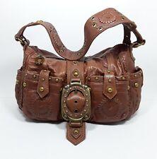 BETSEY JOHNSON Vintage Brown Leather Boho Studded Hobo Shoulder Bag