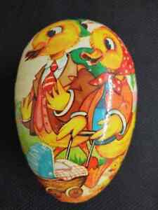 Vintage W. German paper mache duck family Easter candy container.