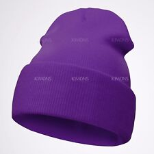 Beanie Plain Knit Hat Winter Warm Cuff Cap Slouchy Skull Ski Warm Men Woman