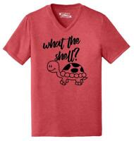 Mens What The Shell Triblend V-Neck Turtle Graphic