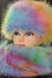 Mütze mit Schal, Fuchs, Pelzmütze,Damen Wintermütze Farben Faux Fur Hat & Scarf
