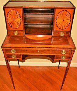 Antique Early Federal Georgian Hepplewhite Sheraton Inlaid Writing Desk Table