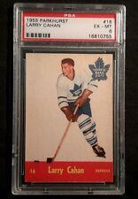1955 55-56 Parkhurst Larry Cahan (16) Rookie Toronto Maple Leafs PSA 6